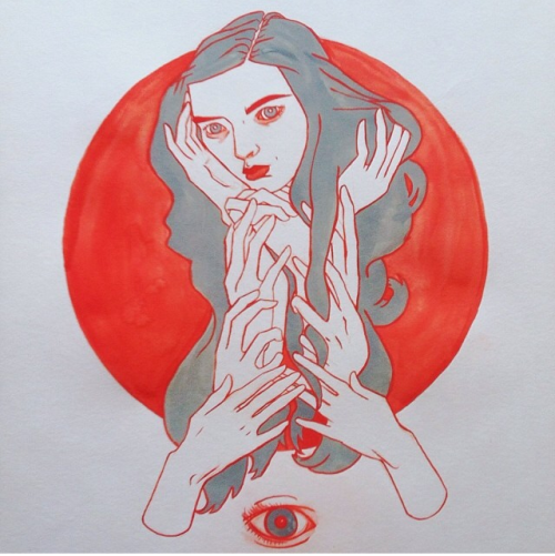 Jessika Dene Tarr's Melancholy Bliss I, 2013, gouache and ink. Courtesy of Catalyst Projects.