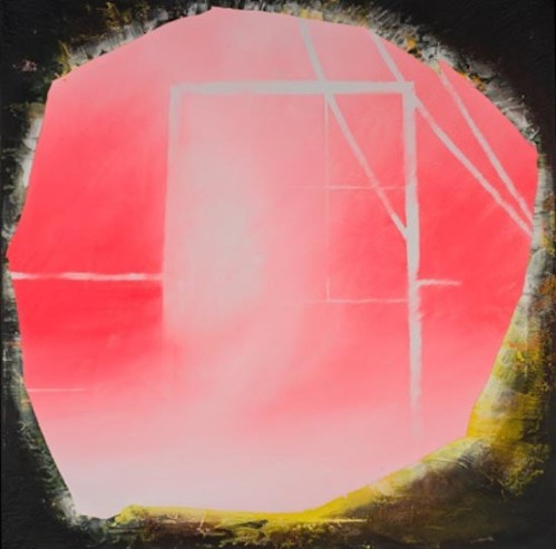 The Cave, acrylic & ceramic tile adhesive on canvas, 2014 by Rush Baker.  See Baker's Under Pressure at Honfleur Gallery Friday Night.