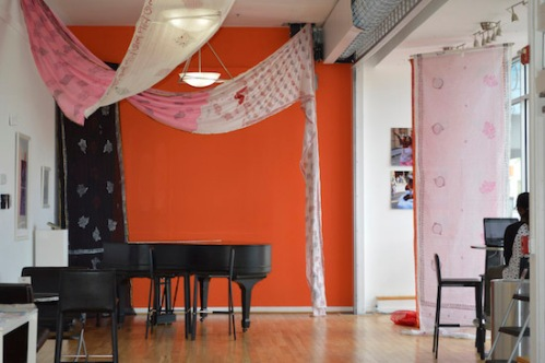 Installation view of Monica Jahan Bose's Climate Action: Story Telling with Saris at the Anacostia Arts Center.  Image courtesy of the artist.