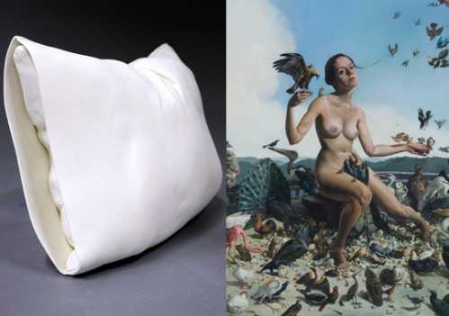 Iconic synthesis--Megan Van Wagoner's sculptures (left) become the blank canvas for Erik Thor Sandberg's (right) paintings in Saturated with the Subconscious.  Image courtesy Flashpoint Gallery.