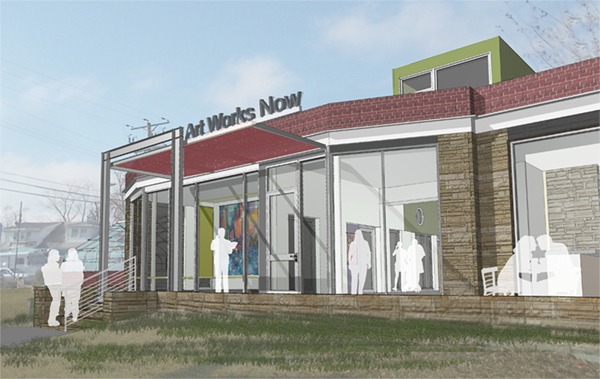 """A new beginning--Art Works Now breaks ground on their new home at 4800 Rhode Island Avenue in the Gateway Arts District.  Rendering courtesy McInturff Architects and Art Works Now. """