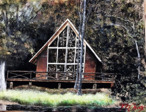 Outsider Art Inside the Beltway celebrates its 10th anniversary at Art Enables.  Experience the work of outsider artists from around the country at this annual showcase. Pictured above Cabin by the Lake by Mike Knox.  Image courtesy of Art Enables.